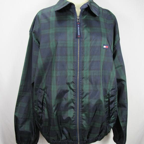 VINTAGE Tommy Hilfiger L Blue Green Check Coat EUC